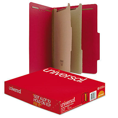 Universal Pressboard Classification Folders Letter Six-Section Ruby Red 10/Box