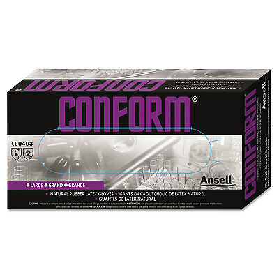 Ansell Conform Natural Rubber Latex Gloves 5 mil Medium 100/Box 69210M