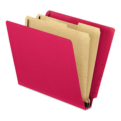 Pendaflex Pressboard End Tab Classification Folders Letter 2 Dividers Red 10/Box