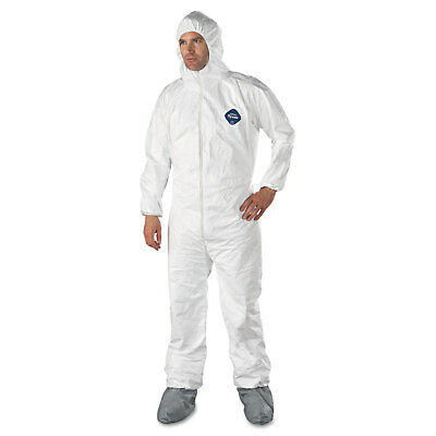 DuPont Tyvek Elastic-Cuff Hooded Coveralls w/Boots White X-Large 25/Carton