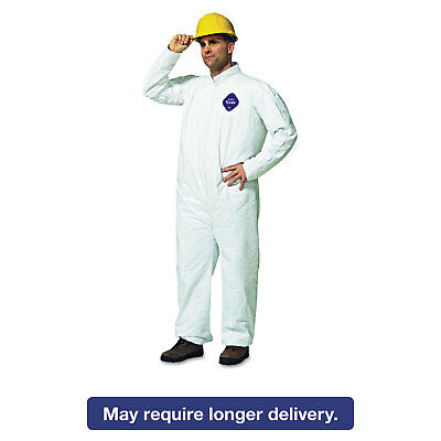 DuPont Tyvek Coveralls Open Wrist/Ankle HD Polyethylene White Large 25/Carton