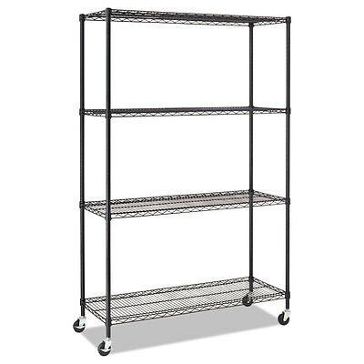 Alera Complete Wire Shelving Unit w/Caster, Four-Shelf, 48 x 18 x 72, Black
