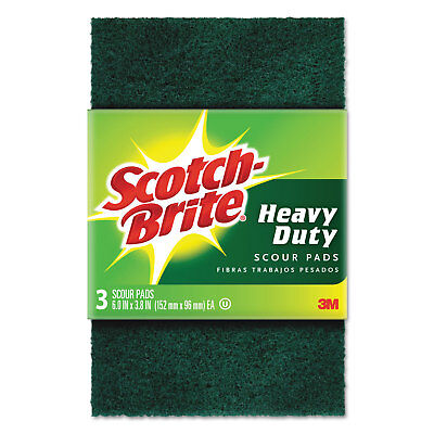 "Scotch-Brite Heavy-Duty Scour Pad 3.8w x 6""L Green 3/Pack 10 Packs/Carton"