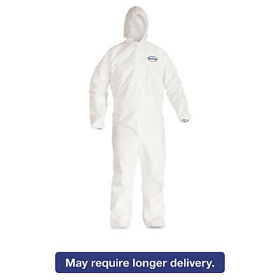 KleenGuard* A40 Elastic-Cuff Hooded Coveralls White X-Large 25/Case 44324
