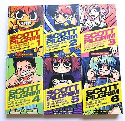 Scott Pilgrim Vol. 1 2 3 4 5 & 6 Color Hardcover Graphic Novel Comic Book Lot