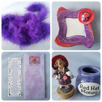 Red Hat Society Ladies Mixed Lot Gift Set Coin Bank Dish Notepad Bookmark Boa