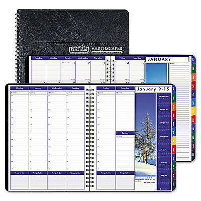 House Of Doolittle Recycled Earthscapes Weekly/Monthly Planner 8 1/2 x 11 Black