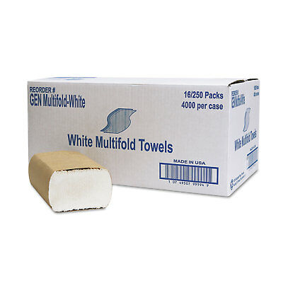 GENERAL SUPPLY Multifold Towel 1-Ply White 250/Pack 16 Packs/Carton MULTIFOLDWH