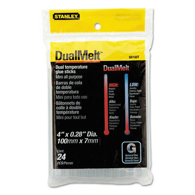 "The Stanley Work Dual Temperature Mini Glue Sticks, 4"", Clear, 24/Pack GS10DT"