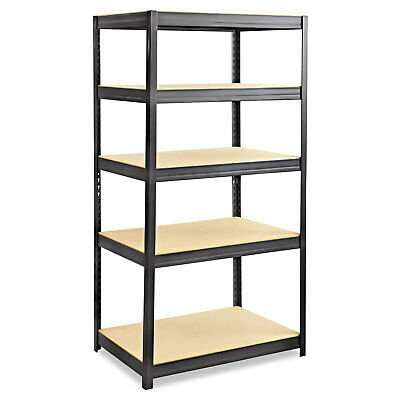 Safco Boltless Steel/Particleboard Shelving Five-Shelf 36w x 24d x 72h Black