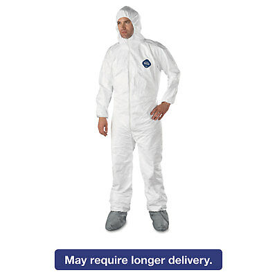 DuPont Tyvek Elastic-Cuff Hooded Coveralls w/Boots White Large 25/Carton TY122SL