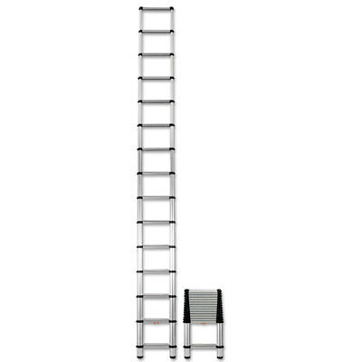Reg Telescopic Extension Ladder, 18 ft, 300lb, 14-Step, Aluminum 1800EP