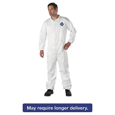 DuPont Tyvek Elastic-Cuff Coveralls HD Polyethylene White Large 25/Carton