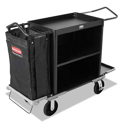 Rubbermaid Commercial High-Capacity Housekeeping Cart Three-Shelf 22w x 55d x