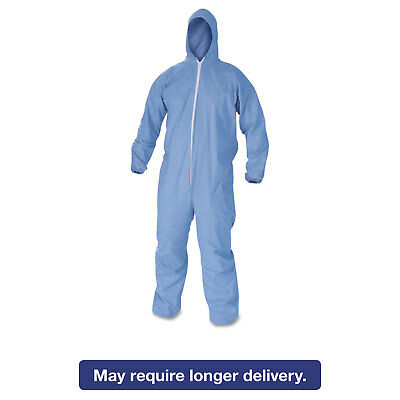 KleenGuard* A60 Elastic-Cuff & Back Hooded Coveralls Blue Large 24/Case 45023