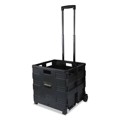 UNIVERSAL Collapsible Mobile Storage Crate 18 1/4 x 15 x 18 1/4 to 39 3/8 Black