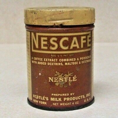 VINTAGE 1930's NESCAFE FROM NESTLE'S MILK PRODUCTS, INC. 4 OZ ADVERTISEMENT TIN