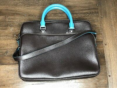 Salvatore Ferragamo Brown/Blue Two-Tone Revival Leather Briefcase $1800