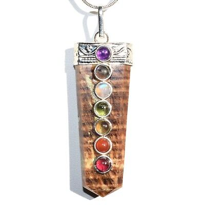 "CHARGED 7 Chakra Aragonite Crystal Perfect Pendant™ + 20"" Chain"