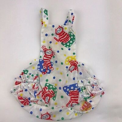 Vintage Toddlers Girls bubble colorful ruffle Lace Cat Romper 2T animal crackers