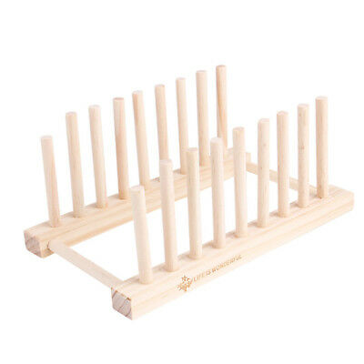 8 Dish Rack Pots Wooden Plate Stand Wood Kitchen Cups Display Drainer Holder  sc 1 st  PicClick & WOODEN PLATE RACK Wood Stand 6 Dishes Pans Pots Cups Plates Lid ...