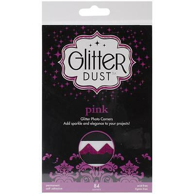 Self Stick Glitter Dust Photo Corners-SILVER-GOLD- BLACK -or- PINK Sparkle Bling