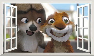 Over The Hedge Large Magic Window Self Adhesive Wall Sticker Print Poster 3D