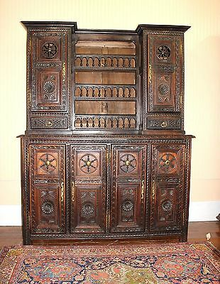 French Antique Brittany Tall Oak Buffet Hutch Sideboard Dining Room Furniture