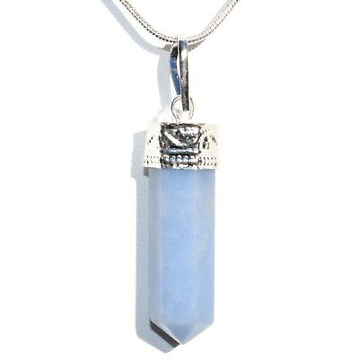 "CHARGED Faceted Peruvian Angelite Crystal Perfect Pendant™ + 20"" Chain"