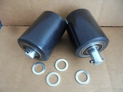 "Pair of Brand New Pallet Jack Poly Load Wheels With Bearings 2.875"" D x 3.75"" W"