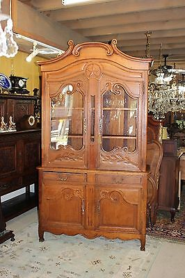 French Antique Oak Tall Buffet Sideboard Hutch Dining Room Cabinet Circa 1790s