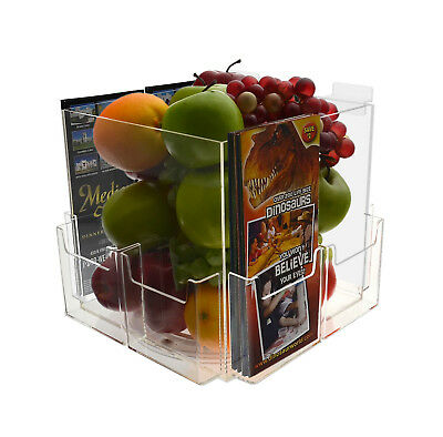 "9"" Square Acrylic Slatwall Display Bin with 6 Pamphlet Pockets"