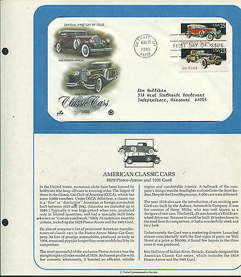 2382-83 * Classic Cars * Pierce-Arrow & Cord* Hand-Tinted Fdc On Souvenir Page >
