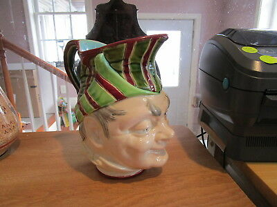 "Antique Sarreguemines French Majolica 8"" Jester Pitcher"