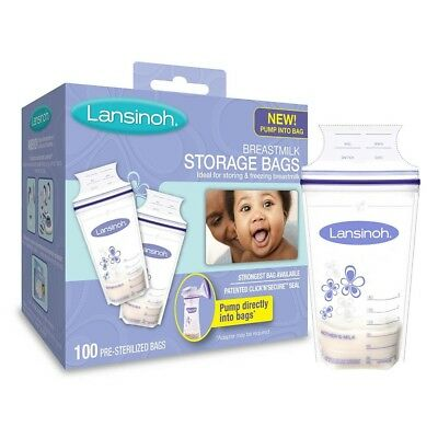 Lansinoh Breastmilk Storage Bags, 100 Count, BPA BPS Free, Fits on Pump Double