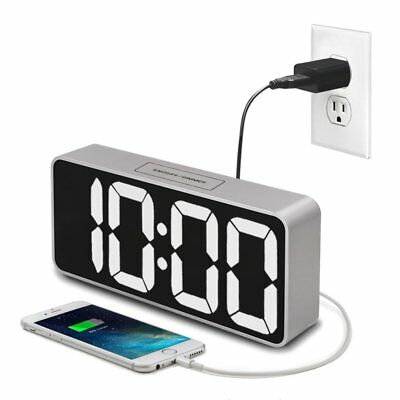 "iCKER 9"" Digital Alarm Clock Large Display with USB Charger, LED Clock with for"