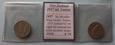 """1957 N.Z. Sixpence """"No Shoulder Strap"""" Variety with Comp. coin (2 coins) FINE"""