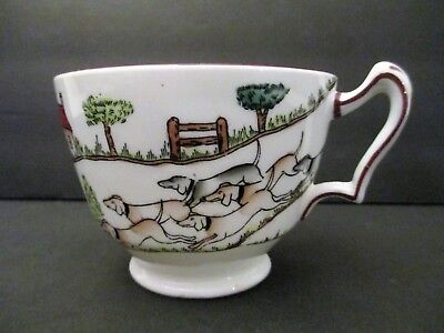 Vintage Crown Staffordshire England Bone China Footed Cup Hunting Scene