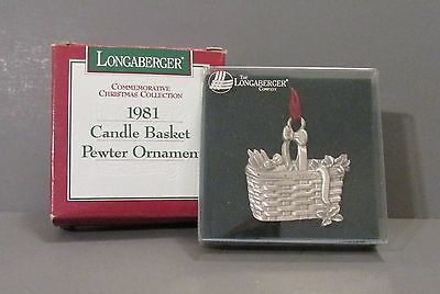 "Longaberger ""Candle Basket"" Pewter Commenorative Christmas Collection Ornament"