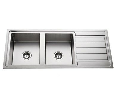 304 Stainless Steel Double BOWL Top mount kitchen/Laundry Handmade 1.2MM SINK