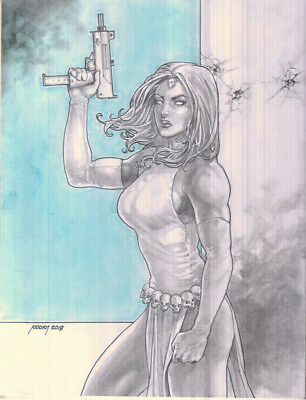 MYSTIQUE sexy sketches pin up drawing original art by NOORA
