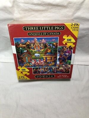 DOWDLE 2 Pack  Animals Of Canada - Three Little Pigs 100 Piece Each Puzzle