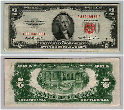 1953 $2 Dollar Bill Old Us Note Legal Tender Paper Money Currency Red Seal P677