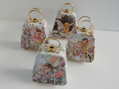 Gift Tin Fairy Handbag Gold Look  Handles & Clasp 8 Designs Fairies Elf & Elves