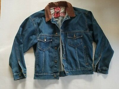 Vintage Marlboro Country Store Denim Jean Jacket Leather Collar Mens Size M