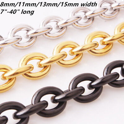 "7""-40"" Stainless Steel Huge 8/11/13/15mm Rolo Oval Link Men's Chain Necklace"