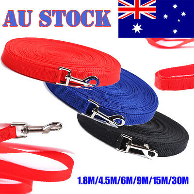 1.8/4.5/6/9/15/30M Long Dog Pet Training Obedience Recall Lead Leash 2cm Width