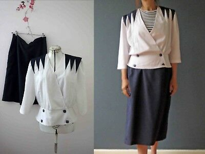 Vintage 80s Nautical Skirt Suit Jacket Blue Navy Med Free Postage for 3+ items