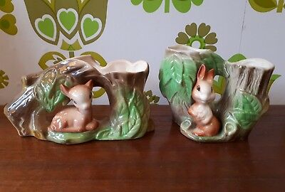 Two Withernsea (Eastgate) Pottery Fauna Small Vases Deer/Rabbit (1)