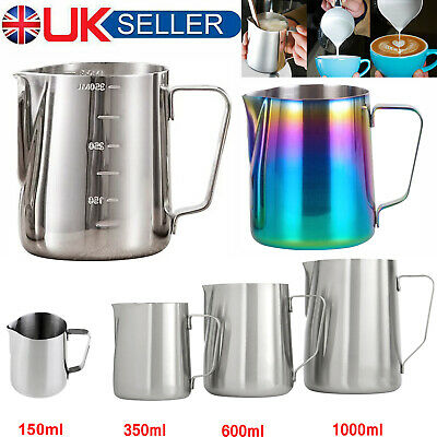 4X Milk Frothing Jug Frother Stainles Steel Coffee Latte Container Metal Pitcher
